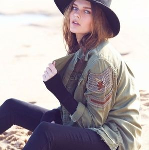 Free People Embroidered Military Shirt Jacket